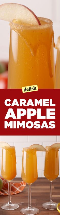 Byyye, Summer: Helloooo, Caramel Apple Mimosas Delish Booze + no gooey mess? This mimosa is the best caramel apple we've ever had. Fall Drinks, Holiday Drinks, Party Drinks, Cocktail Drinks, Mixed Drinks, Alcoholic Drinks, Fall Cocktails, Drinks Alcohol, Apple Cocktails