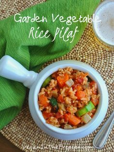 Garden Vegetable Rice Pilaf is very easy to throw together and it also freezes great.