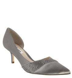 The most beautiful and comfortable silver satin, crystal adorned, pointed toe d'orsay pumps with a chic setback low heel, the Bethany creates a luxurious attitude with the illusion of height and shimmering crystals. Perfect for the mother of the bride! | Nina Shoes Bethany http://ninashoes.com/bethany-metal-dust-crys-s-jolie-s--19072?utm_source=Pinterest&utm_medium=Social%20Media%20Campaign&utm_campaign=Bethany%20Metal%20Dust%20Crystal%20Satin
