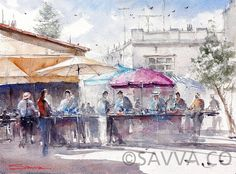 Limassol-Markets Watercolour by savva Watercolour, Watercolor Paintings, Limassol, Gouache Painting, Articles, Colours, Pen And Wash, Watercolor Painting, Water Colors