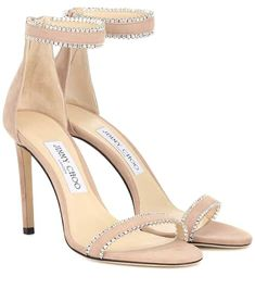 Understated yet decisively luxe, the Dochas sandals from Jimmy Choo feature opulent crystal embellishments along the ankle and toe straps. The design has been crafted in Italy from plush ballet pink suede, and features a . Leather Wedge Sandals, Suede Sandals, Sandal Heels, Shoes Sandals, Flats, Stiletto Heels, High Heels, Saint Laurent, Rubber Sandals