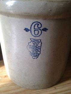 S.P. & S. White Hall ILL Stoneware Crock 6 Gallon 1920s Rare Condition
