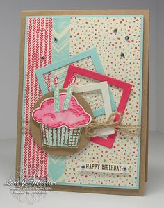 Tarjeta de feliz cumpleaños hecha por Lori Mueller design http://www.stampindreams.com/my-blog/2015/07/sprinkles-of-life-birthday-celebration.html