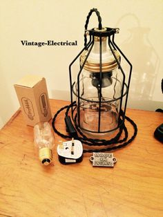Kilner Mason Cage jar table light industrial by VintageElectrical