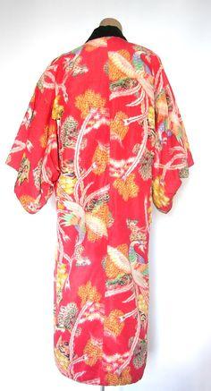 Beautiful Silk & Cotton Vintage Padded Kimono by VintageZipper, $40.00