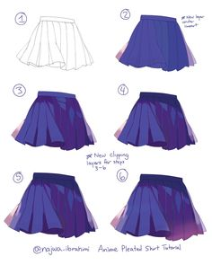 Digital Painting Tutorials, Digital Art Tutorial, Art Tutorials, How To Draw Skirt, Anime Skirts, Girl Anatomy, Manga Drawing Tutorials, Coloring Tips, Coloring Tutorial