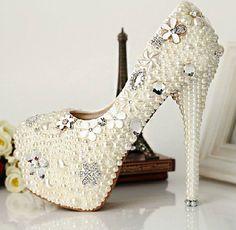 Zapatillas Para Novia | ... zapatos de boda de la perla blanca de la plataforma zapatos de novia