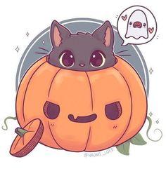 Kawaii kitty jack-o-lantern 🎃 Kawaii Halloween, Manga Halloween, Cute Halloween Drawings, Fall Drawings, Halloween 2019, Chat Kawaii, Kawaii Cat, Kawaii Chibi, Chibi Cat