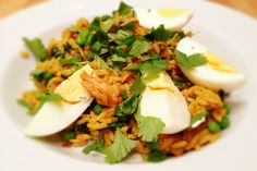 John Torode's kedgeree recipe. Swapped in some salmon. Very good.