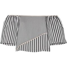 La Ligne Off-the-shoulder satin-trimmed striped voile top (1.500 BRL) ❤ liked on Polyvore featuring tops, shirts, crop, stripe crop top, sleeve shirt, crop top, off shoulder tops and sleeve crop top
