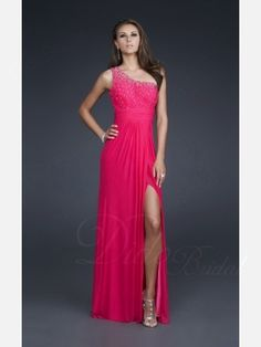 Sleeveless Sheath One-shoulder Floor-length Chiffon Evening / Prom Dress
