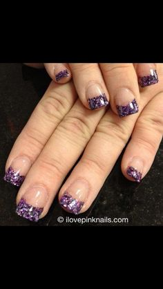 Purple Sparkly Tip Nails