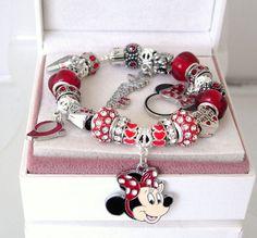 Authentic Pandora Leather Disney Charm Bracelet Minnie Mickey Charm  Red  New  #BlackLeatherPandoraBraceletnonPandoraBeads #European