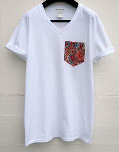 Men's V-Neck Floral Pattern White Pocket T-Shirt by HeartLabelTees T Shart, Design Kaos, Latest Mens Fashion, Men Fashion, Fashion Ideas, Evolution T Shirt, Apparel Design, Men's Apparel, Future Fashion