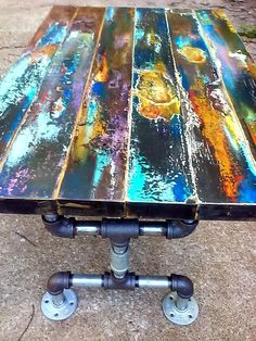 Items similar to reserved for Roseanna's deposit for Faux bronze patina abstract on reclaimed vintage door wood with door plate. on Etsy Reclaimed Wood Door, Reclaimed Vintage, Wood Door Frame, Reclaimed Wood Coffee Table, Wood Doors, Barn Wood, Door Coffee Tables, Painted Coffee Tables, Wood And Metal Table