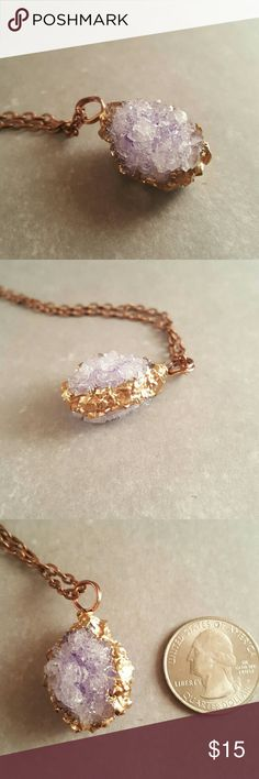 """Crystal necklace Light purple homemade, hand painted crystal with gold leaf details. Comes with 24"""" chain but can easily be used with any chains. Very lightweight. Crystal is about 1 1/2"""" including loop. Jewelry Necklaces"""