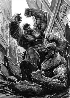 Hulk v. The Thing. I'd like to see that. Geek Art: Black and White Comic-Book Art by Stjepan Sejic — GeekTyrant Comic Book Characters, Marvel Characters, Comic Character, Comic Books Art, Marvel Comics Art, Hulk Marvel, Marvel Heroes, Avengers, Hulk Smash