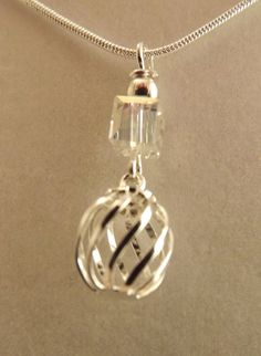 Silver Plated Cage with Swarovski Crystal by ShayBelleDesigns, $8.00