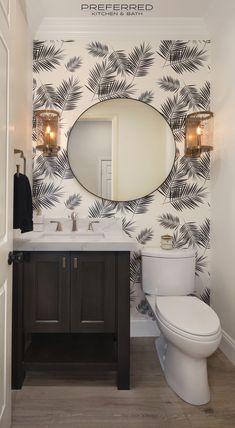 Wallpaper Accent Wall Bathroom, Powder Room Wallpaper, Wallpaper Toilet, Palm Wallpaper, Half Bathroom Remodel, Bath Remodel, Tiny Half Bath, Half Baths, Tiny Powder Rooms