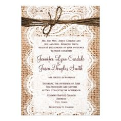 Rustic Burlap Wedding Invitation with Lace and Twine - Quantity Discount Applies - Save Up To 50% on Your Favourite Wedding Card