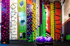 "Billed as a ""rock climbing, ninja warrior, Nerf, and parkour facility,"" High Exposure is the ultimat. Rock Climbing Gym, Kids Climbing, Parkour Gym, Ninja Warrior Course, Warrior High, Kids Obstacle Course, Creative Kids Rooms, Sport Park, Trampoline Park"