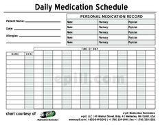 Printabledailymedicationschedulechart Kathy Pinterest