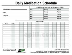 Free DAILY Medication Schedule Chart To