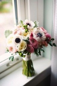 ranunculus and anemone bouquet. interesting use of flowers you don't see in every bouquet Anemone Bouquet, Anemone Flower, Anemones, White Anemone, Boquet, Flower Bouquets, Pink Bouquet, Ranunculus Flowers, White Ranunculus