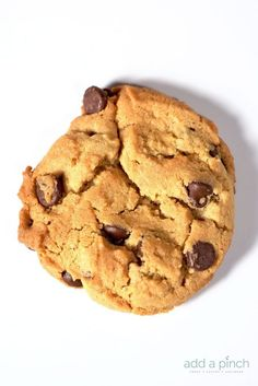 Peanut Butter Chocolate Chip Cookies Recipe - Such a delicious, bakery style cookie that you'll want to make again and again!  from addapinch.com