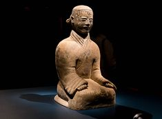 This is a simple figure of a kneeling stable boy. He was found in a coffin along with the remains of a horse in the stable area of the Tomb of the Emperor. Virginia Museum of Fine Arts Museum Of Fine Arts, Emperor, Coffin, Virginia, Buddha, Horses, Statue, Simple, Sculpture