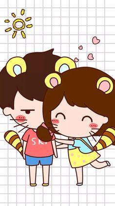 Wallpaper Love Cartoon Couple, Chibi Couple, Cute Love Cartoons, Cute Love Couple, Cartoon Drawings Of People, Cartoon Girl Drawing, Disney Drawings, Girl Cartoon, Kawaii Illustration