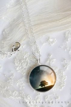 Tree of life Necklace, Silver Pendant Necklace, Resin Necklace jewelry, Moon Necklace ,Resin Jewelry,Pendant charm statement necklace N003