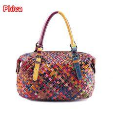 Guaranteed 100% Cowhide Leather Designer Handbags Women Famous Brands Travel Bag Handmade Weaving Women Messenger Bags