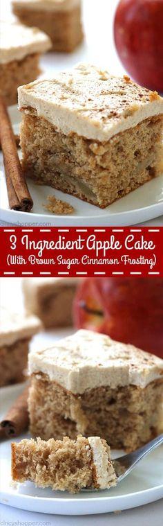 3 Ingredient Apple Cake with Brown Sugar Cinnamon Frosting - easy fall dessert.