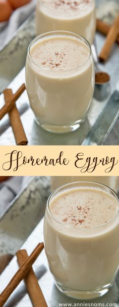 Homemade Eggnog (Non Alcoholic) My homemade eggnog is thick, sweet and creamy and completely alcohol free for those of us who are teetotal this festive period! Homemade Eggnog, Recipe For Eggnog, Non Alcoholic Eggnog Recipe, Eggnog Recipe Alcohol Free, Eggnog Recipe With Alcohol, Eggnog Alcohol, Frosty Recipe, Homemade Sweets, Recipes
