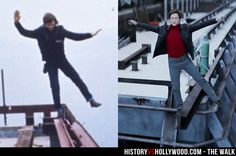 "Philippe Petit balances on one foot on top of the Twin Towers in 1974. Joseph Gordon-Levitt recreates the moment for The Walk movie. Read ""The Walk: History vs. Hollywood"" http://www.historyvshollywood.com/reelfaces/the-walk/"