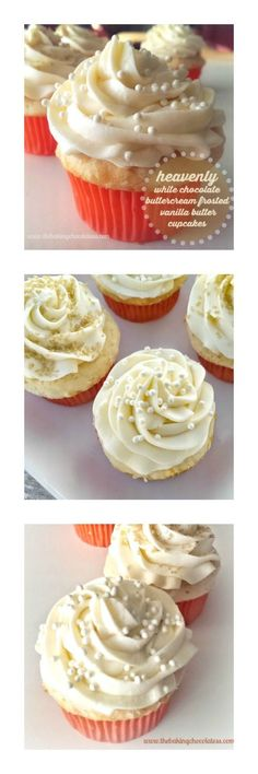 Heavenly White Chocolate Buttercream Frosted Vanilla Butter Cupcakes – The Baking ChocolaTess (chocolate icing recipes no butter) White Chocolate Buttercream Frosting, Cupcake Frosting, Cupcake Cakes, Ganache Frosting, Cupcake Emoji, Vanilla Buttercream, Cup Cakes, Butter Cupcakes, Yummy Cupcakes