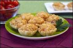 Caramelized Onion Fillo Bites  PER SERVING (5 fillo bites): 184 calories, 5g fat, 648mg sodium, 28g carbs, 2g fiber, 8g sugars, 7g protein -- PointsPlus® value 5*