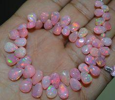 AAA ++ Finest en zeldzaamste kwaliteit natuurlijke kleur spelen Girly roze Ethiopische opaal Pear, 3 x 5 naar 4 x 6 mm ca., Extreme natuurlijke brand 7 inch Strand