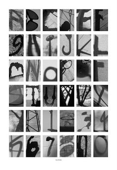 Advanced Digital Graphics Fall 2010 For this project we had to pick a theme and take photos of things that looked like letters a-z and numbe. Alphabet Photography, Photography Projects, Lettering Styles, Lettering Design, Abc Poster, Shadow Photos, Photo Class, Typography Alphabet, Shadow Photography