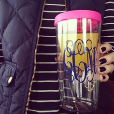 Mimosa to-go in Swoozie's monogrammed wine tumbler
