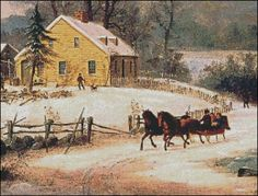 A Sleigh Ride in the Snow (Detail)- George Henry Durrie. Fine art cross stitch pattern.  Stitch count 260w x 198h 63 colors http://www.artofstitching.com/index.php?main_page=product_info&cPath=4_9&products_id=1614
