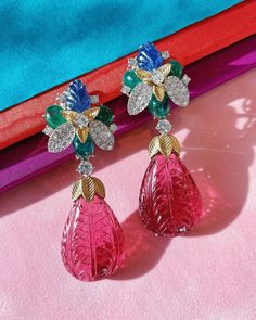 Think PINK! Brand new Blossom earrings with carved rubellite, sapphires, and cabochon emeralds. Trying our best to summon spring... 💐🌸🌷 David Webb, Summoning, Sapphire, Carving, Jewels, Drop Earrings, Unique, Pink Brand, Accessories