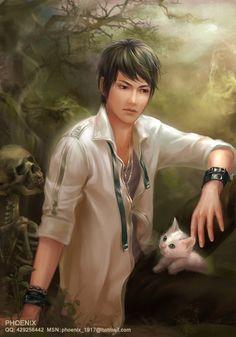 cat and bones by Phoenix Lu ~•º•>¡<~>!<~>¡<•º•~