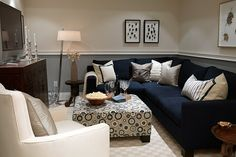 Room design by Sarah Richardson? Blue Couch Living Room, Basement Living Rooms, Blue Couches, Cozy Living Rooms, Living Room Decor, Bedroom Decor, Dining Room, Sarah Richardson, Basement Colors