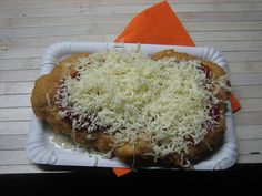 Langose - dough, cheese, and ketchup; a Prague street food