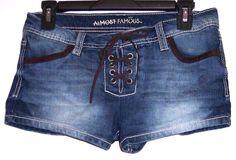 Almost Famous Shorts 9 Stretch Denim Lace Up Boho Hippy Spring Break Short Pants #AlmostFamous #CasualShorts #Summer