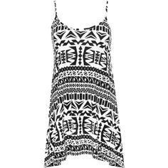 Caroline Aztec Strappy Swing Vest ($22) ❤ liked on Polyvore featuring plus size women's fashion, plus size clothing, tops, black, leopard vest, vest waistcoat, sleeveless vest, aztec print vest and sleeveless waistcoat