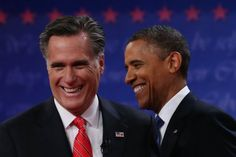 In debate style and body language, Romney trumps Obama...former Massachusetts Gov. Mitt Romney (L) smile after the Presidential Debate at the University of Denver on October 3, 2012 in Denver, Colorado. The first ofour debates for the 2012 Election, three Presidential and one Vice Presidential, is moderated by PBS's Jim Lehrer and focuses on domestic issues: the economy, health care, and the role of government.