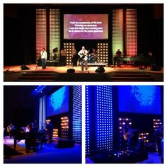 Very creative way to cut cost and still apear that you have an LED wall or panel.  Dots and Spots | Church Stage Design Ideas